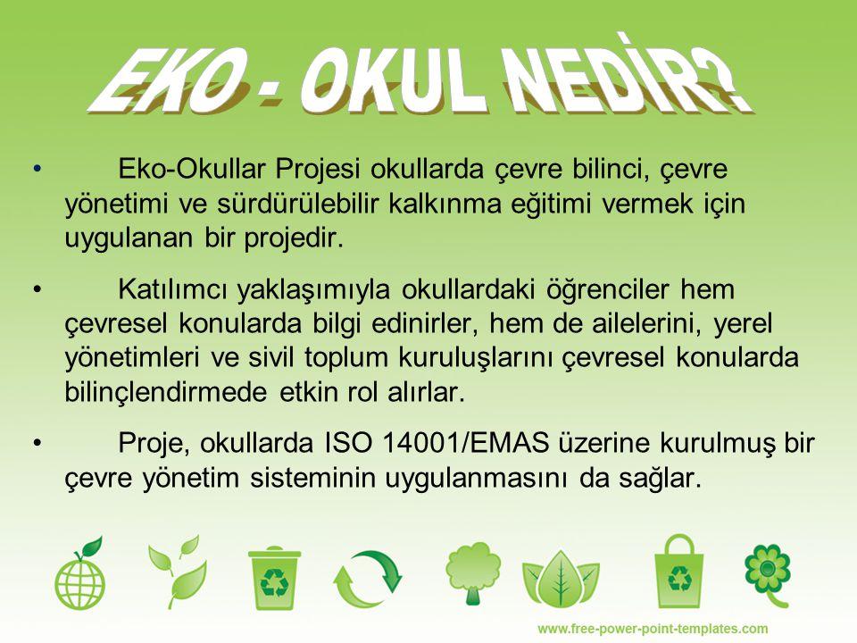 EKO - OKUL NEDİR Eko-Okullar Projesi okullarda çevre bilinci, çevre yönetimi ve sürdürülebilir kalkınma eğitimi vermek için uygulanan bir projedir.