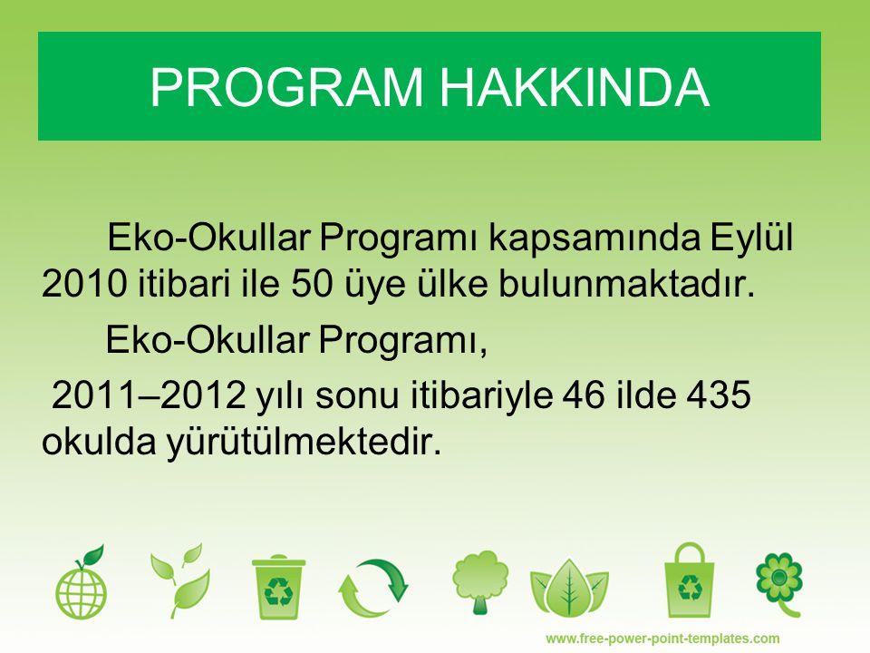 PROGRAM HAKKINDA Eko-Okullar Programı kapsamında Eylül 2010 itibari ile 50 üye ülke bulunmaktadır. Eko-Okullar Programı,