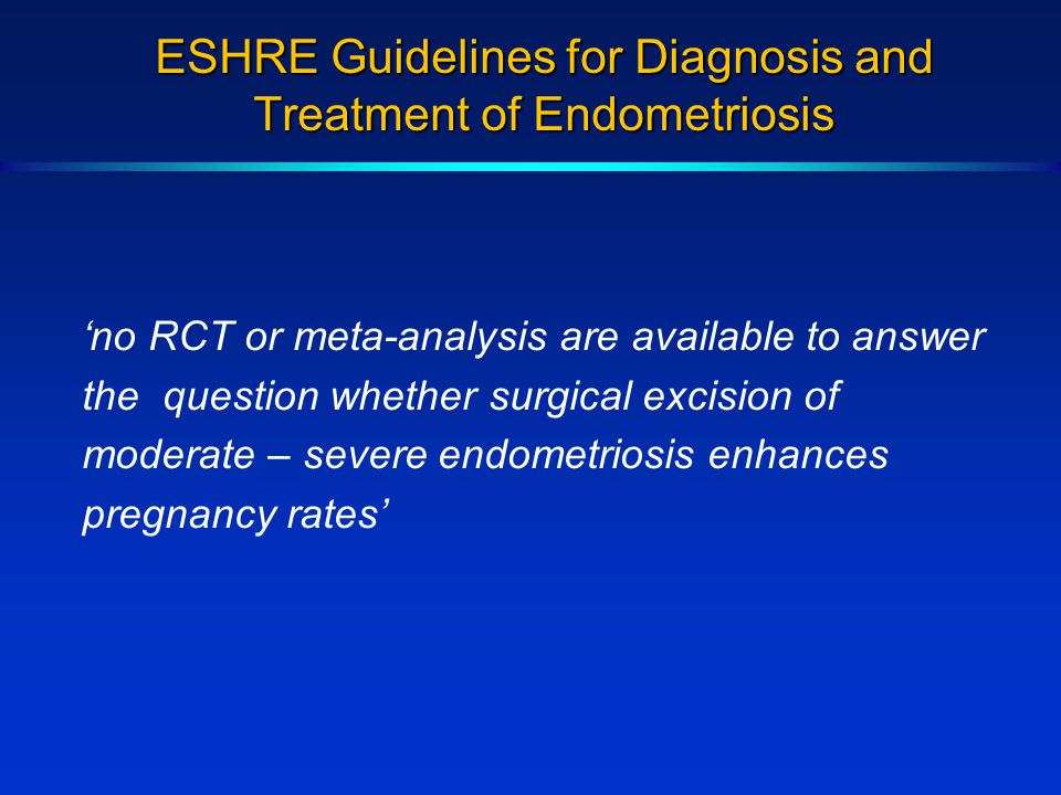 ESHRE Guidelines for Diagnosis and Treatment of Endometriosis