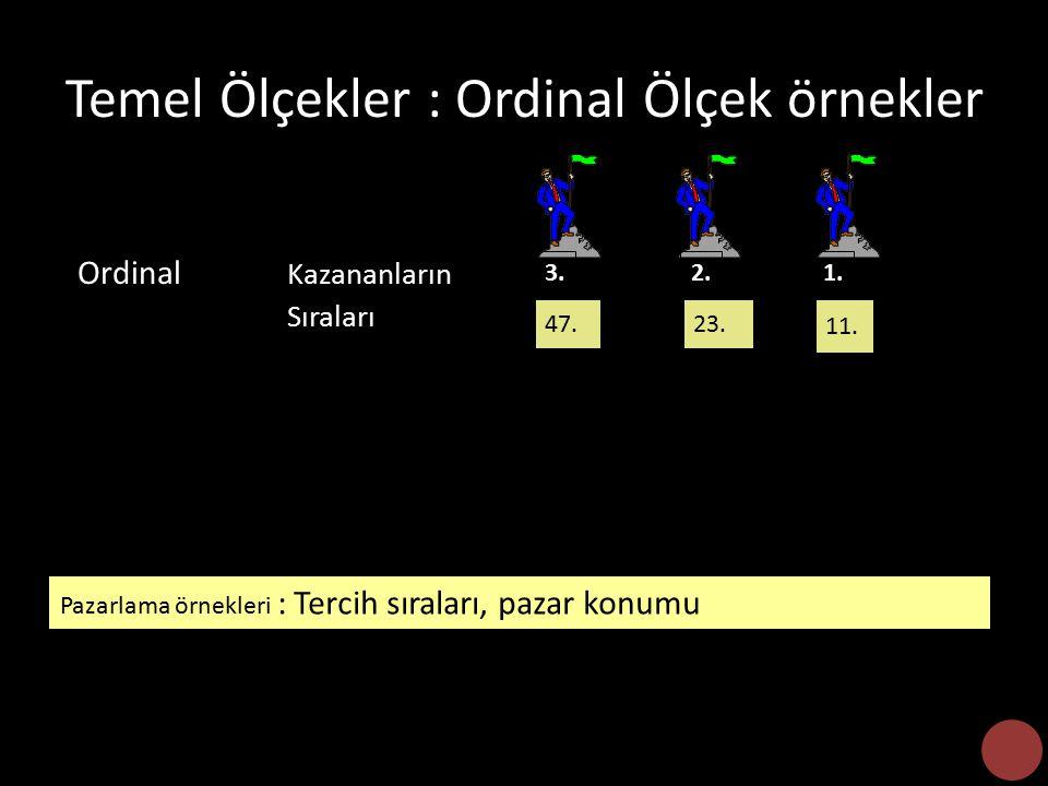 Temel Ölçekler : Ordinal Ölçek örnekler