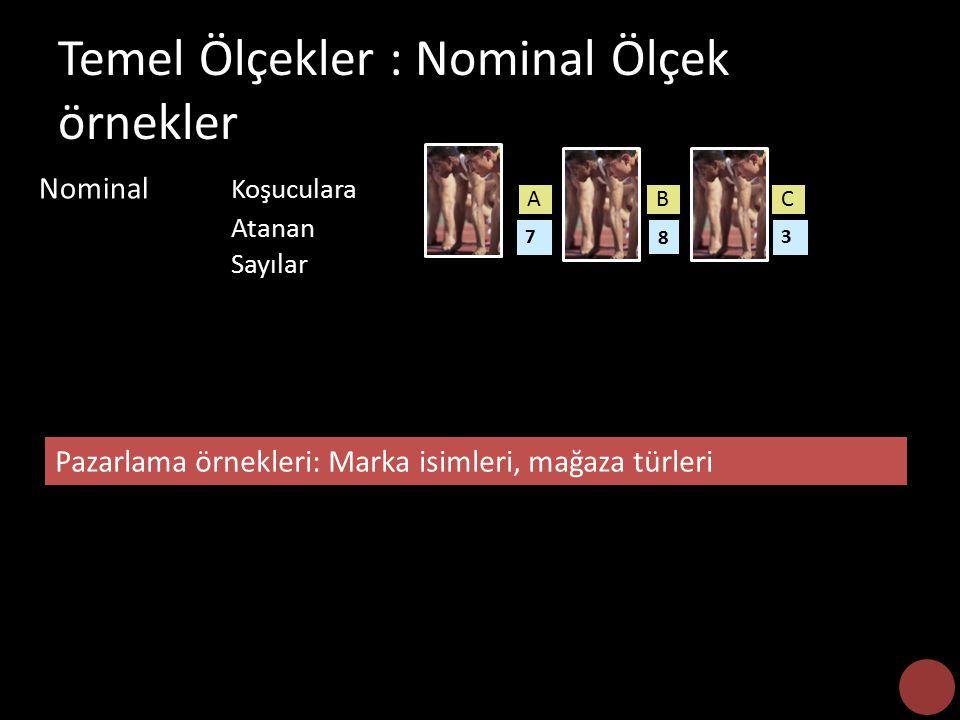 Temel Ölçekler : Nominal Ölçek örnekler