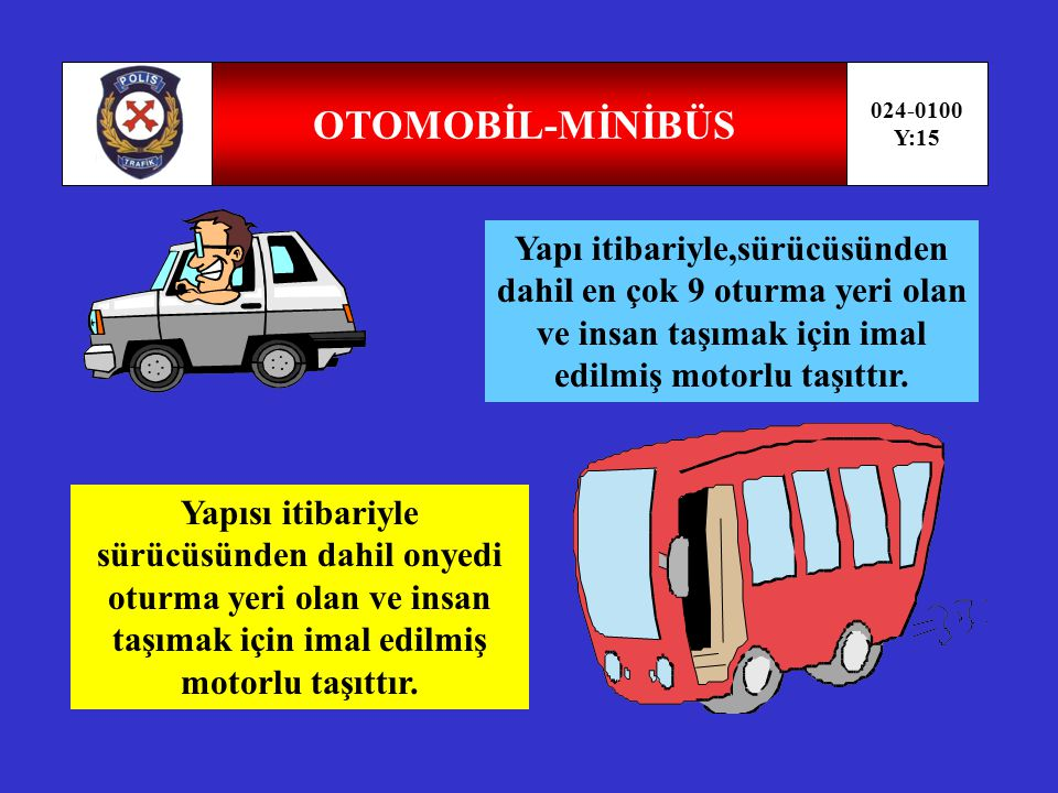 OTOMOBİL-MİNİBÜS 024-0100. Y:15. Yapı itibariyle,sürücüsünden dahil en çok 9 oturma yeri olan ve insan taşımak için imal edilmiş motorlu taşıttır.