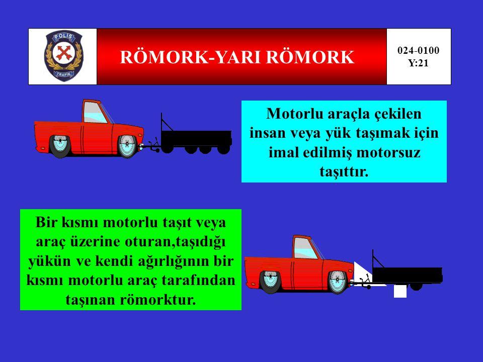 RÖMORK-YARI RÖMORK 024-0100. Y:21. Motorlu araçla çekilen insan veya yük taşımak için imal edilmiş motorsuz taşıttır.