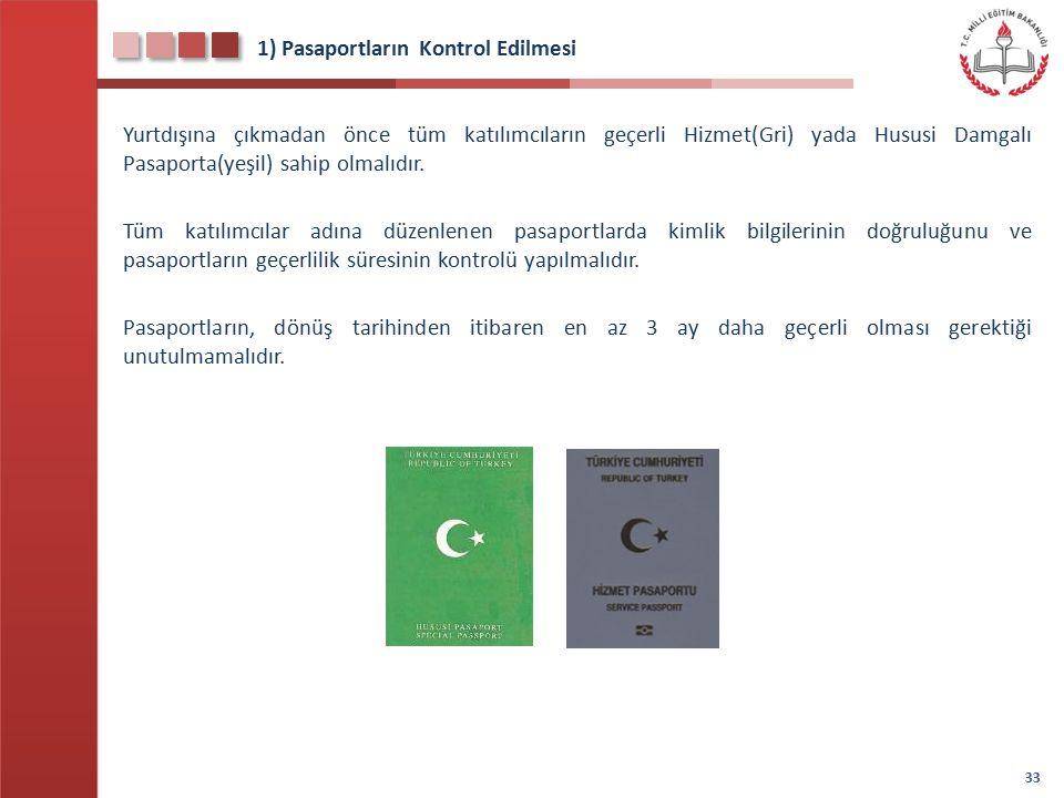 1) Pasaportların Kontrol Edilmesi