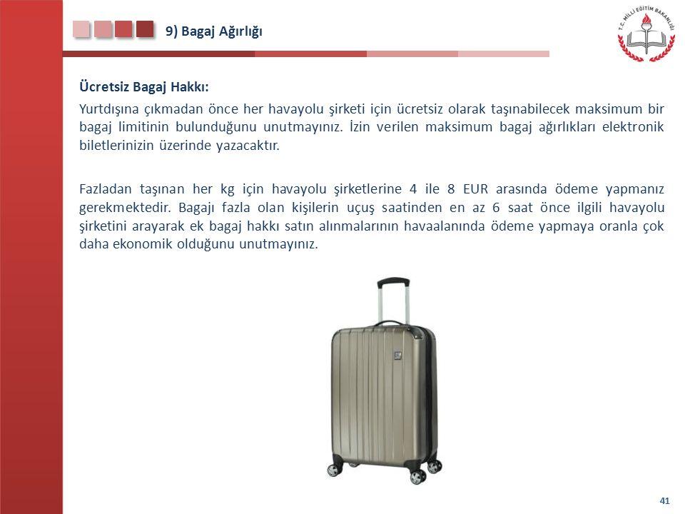 9) Bagaj Ağırlığı Ücretsiz Bagaj Hakkı: