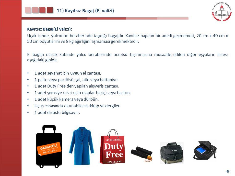 11) Kayıtsız Bagaj (El valizi)