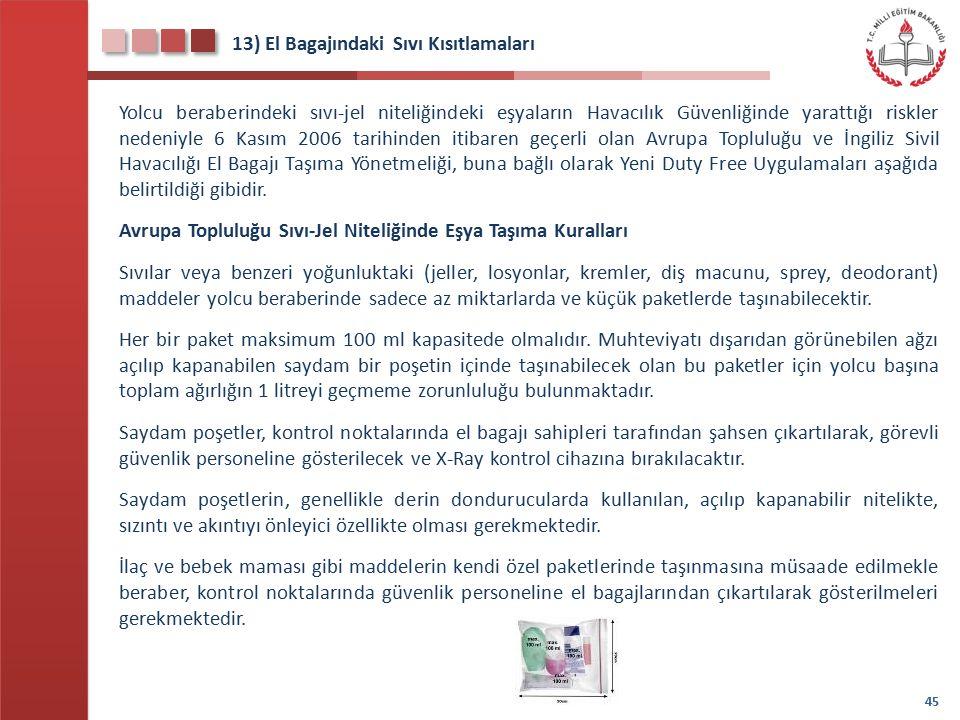 13) El Bagajındaki Sıvı Kısıtlamaları