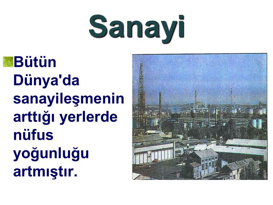 Sanayi Bütün Dünya da sanayileşmenin arttığı yerlerde nüfus yoğunluğu artmıştır.
