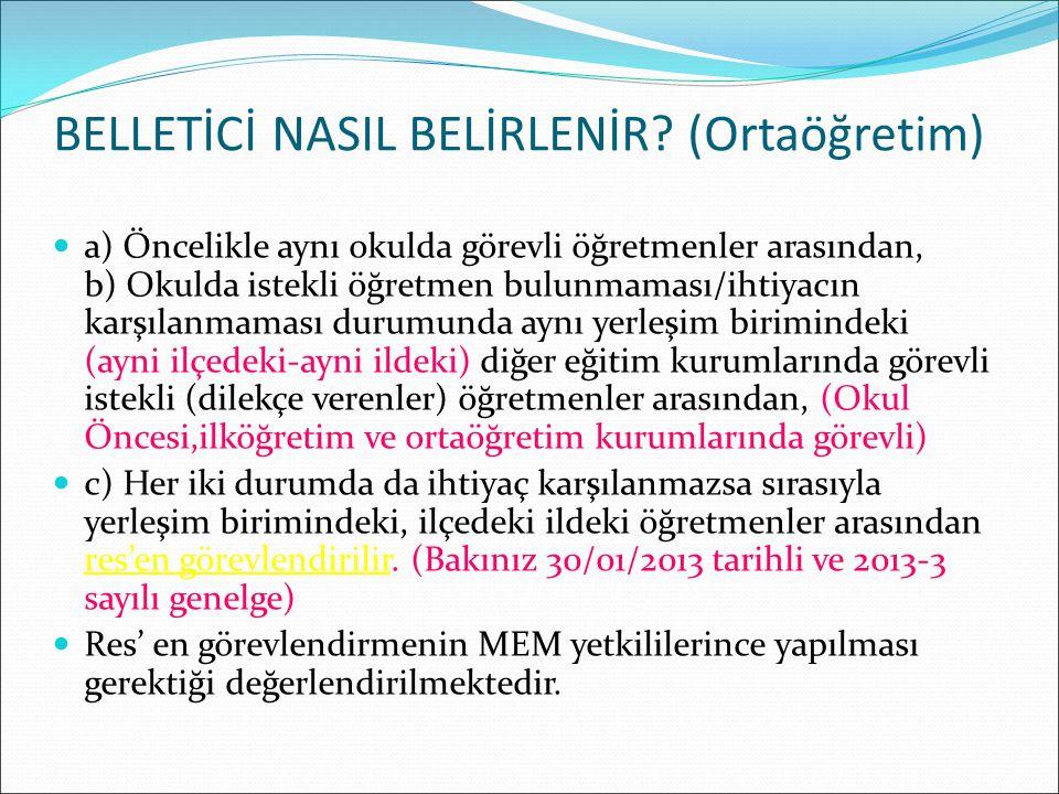 BELLETİCİ NASIL BELİRLENİR (Ortaöğretim)