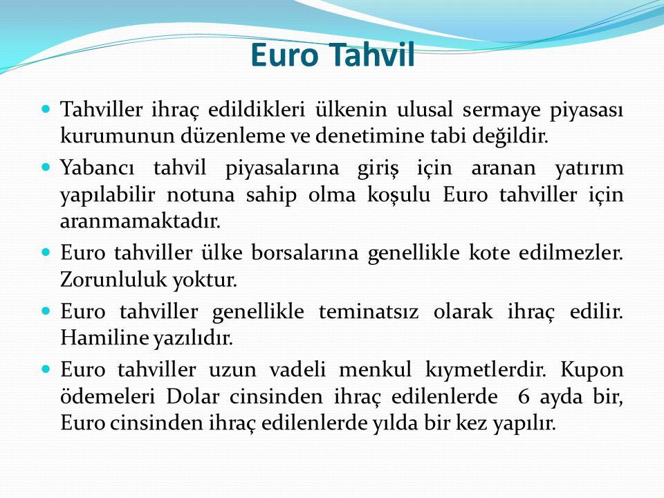 Euro Tahvil Tahviller ihraç edildikleri ülkenin ulusal sermaye piyasası kurumunun düzenleme ve denetimine tabi değildir.