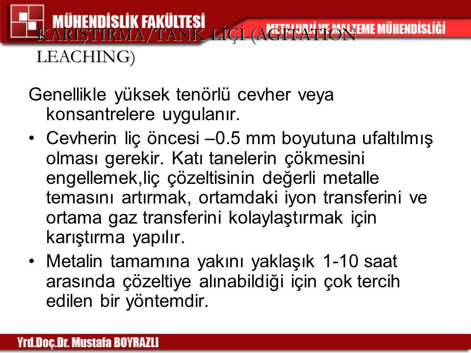 KARIŞTIRMA/TANK LİÇİ (AGITATION LEACHING)