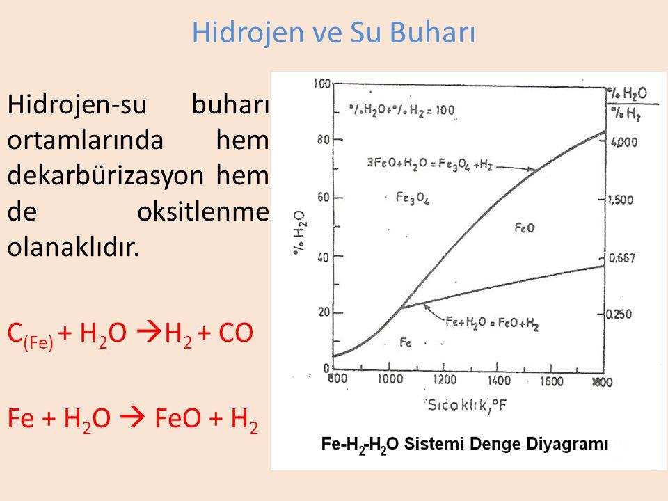Hidrojen ve Su Buharı Hidrojen-su buharı ortamlarında hem dekarbürizasyon hem de oksitlenme olanaklıdır.