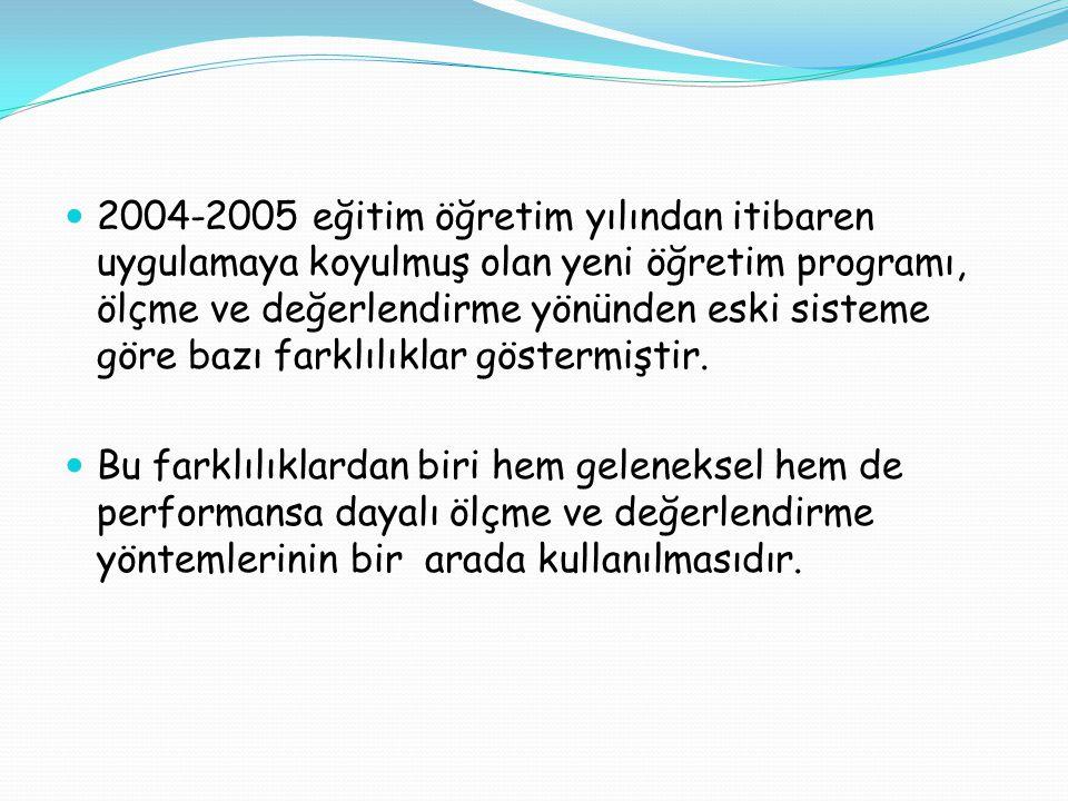2004-2005 eğitim öğretim yılından itibaren uygulamaya koyulmuş olan yeni öğretim programı, ölçme ve değerlendirme yönünden eski sisteme göre bazı farklılıklar göstermiştir.