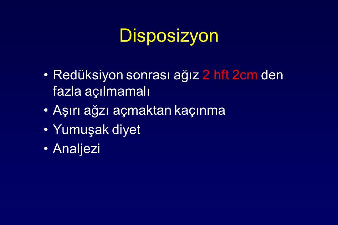 Disposizyon Redüksiyon sonrası ağız 2 hft 2cm den fazla açılmamalı