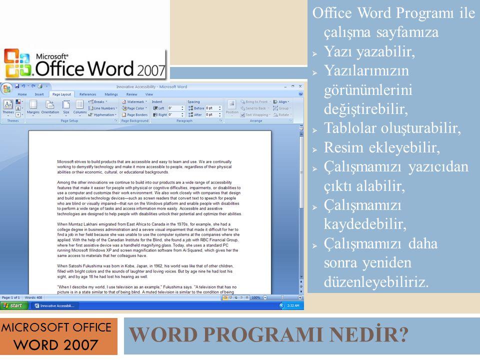 WORD PROGRAMI NEDİR Office Word Programı ile çalışma sayfamıza