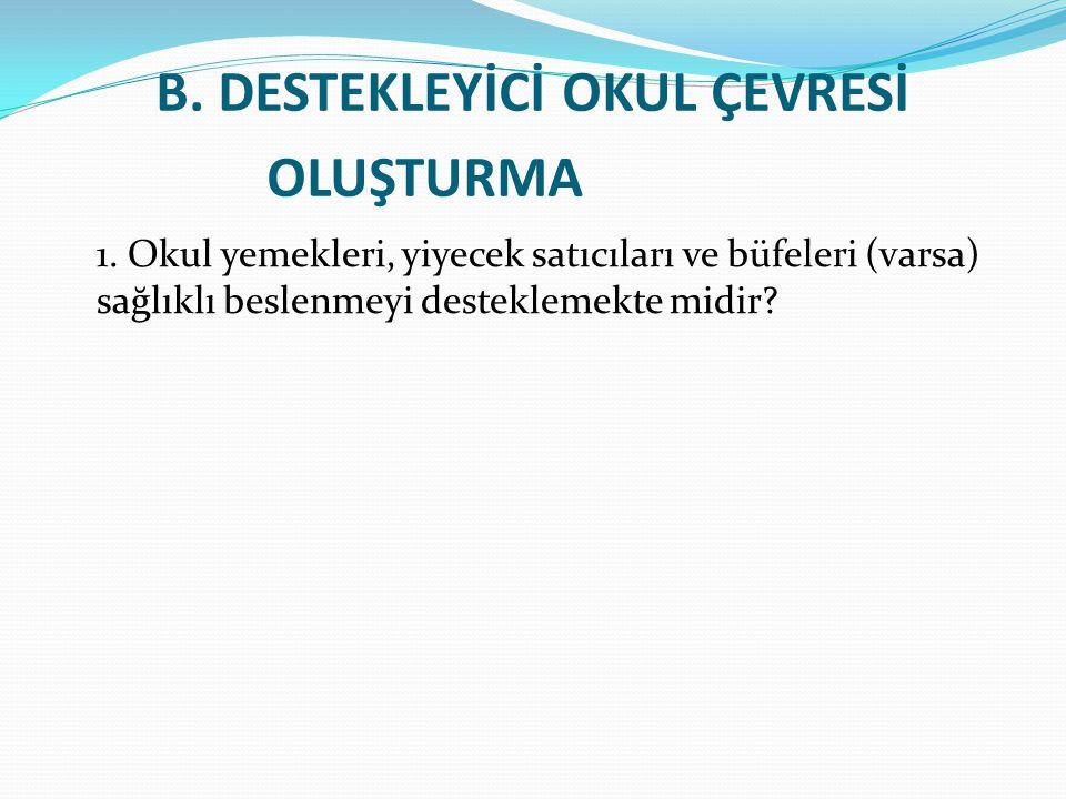 B. DESTEKLEYİCİ OKUL ÇEVRESİ OLUŞTURMA