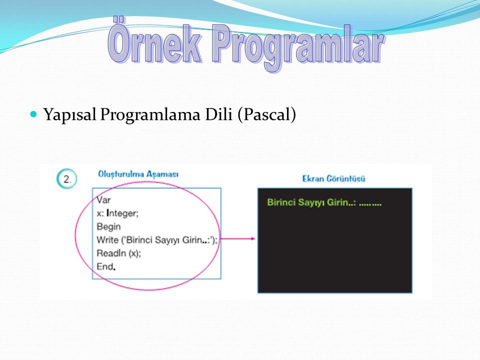 Örnek Programlar Yapısal Programlama Dili (Pascal)