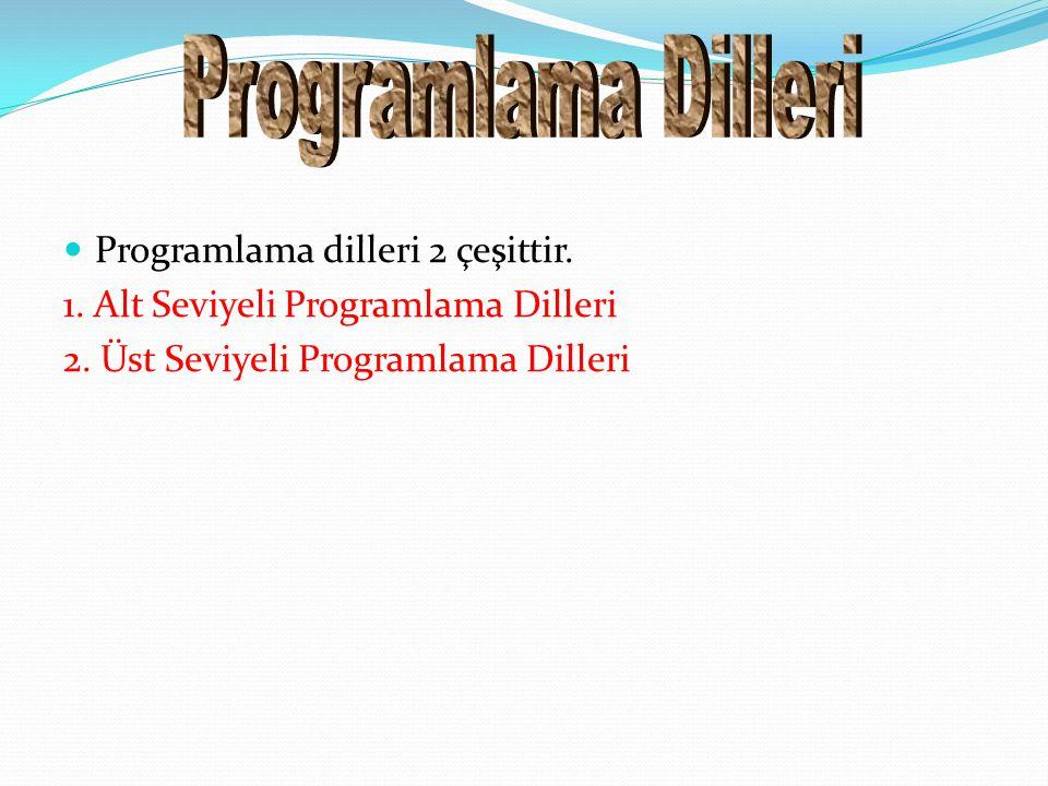 Programlama Dilleri Programlama dilleri 2 çeşittir.