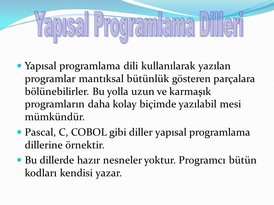 Yapısal Programlama Dilleri