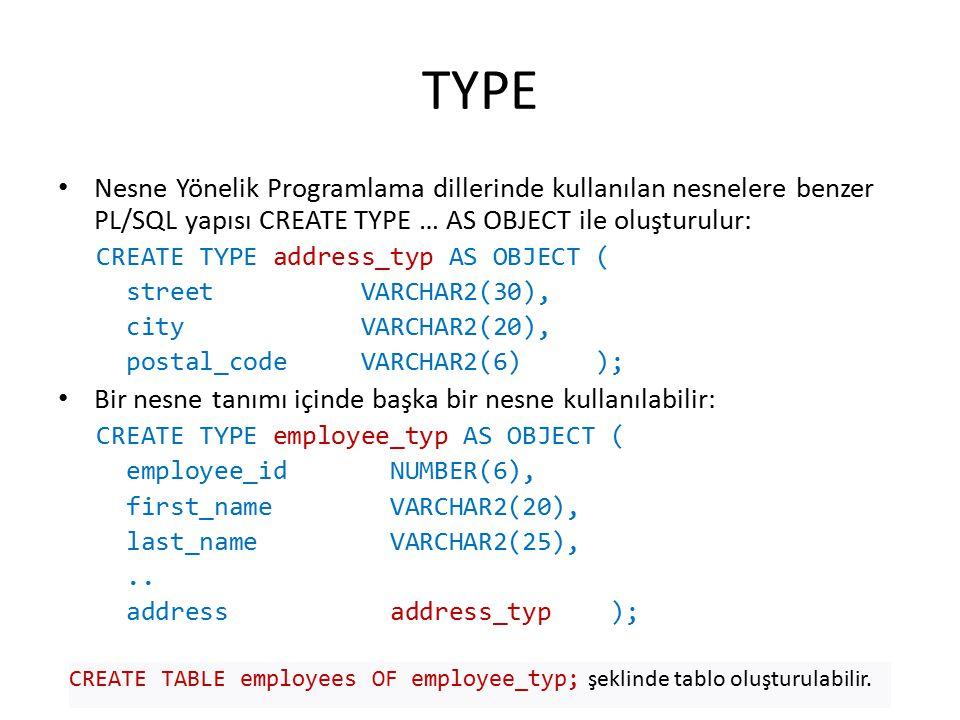 TYPE Nesne Yönelik Programlama dillerinde kullanılan nesnelere benzer PL/SQL yapısı CREATE TYPE … AS OBJECT ile oluşturulur: