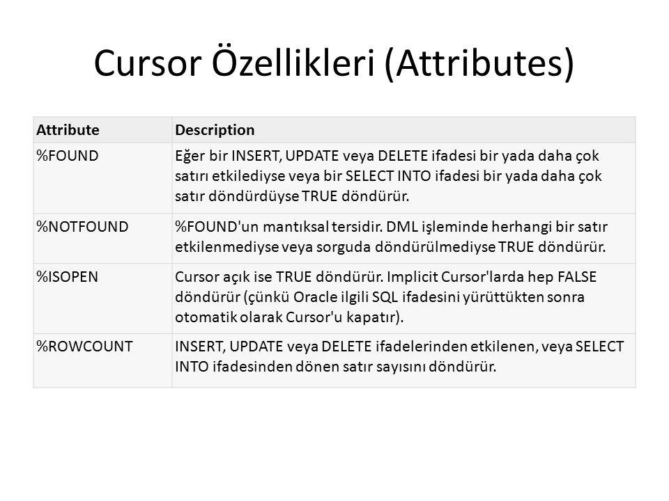 Cursor Özellikleri (Attributes)