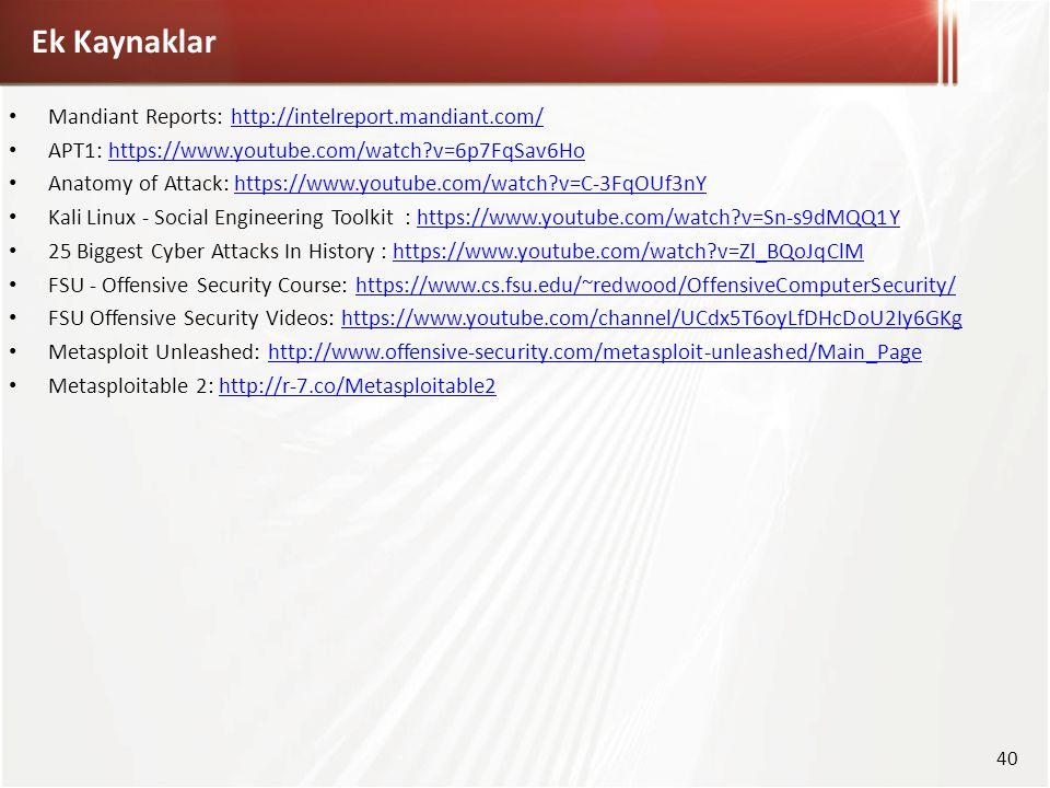 Ek Kaynaklar Mandiant Reports: http://intelreport.mandiant.com/