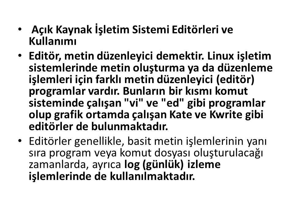 Açık Kaynak İşletim Sistemi Editörleri ve Kullanımı