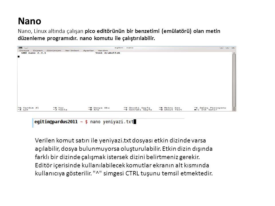 Nano Nano, Linux altında çalışan pico editörünün bir benzetimi (emülatörü) olan metin düzenleme programıdır. nano komutu ile çalıştırılabilir.