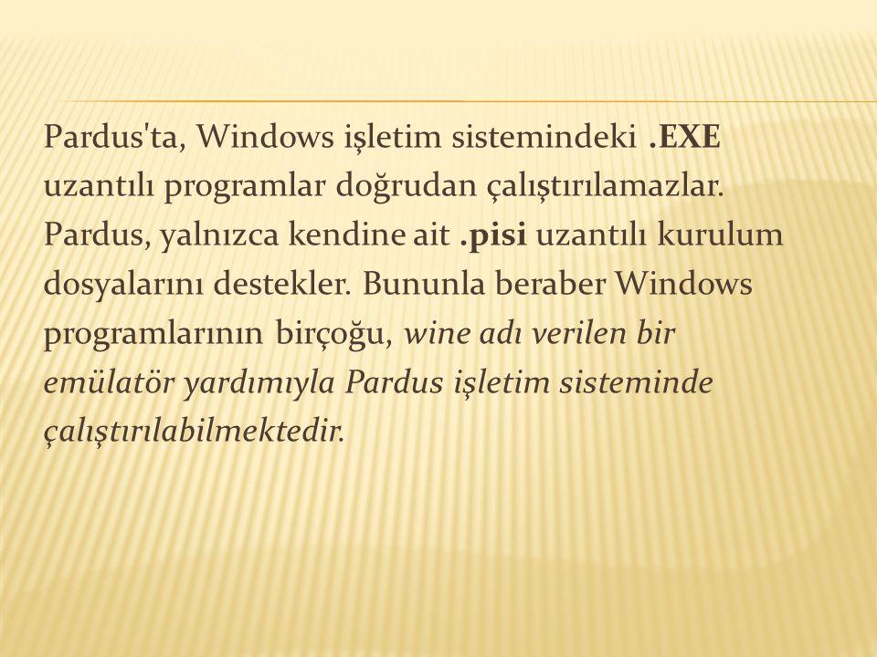 Pardus ta, Windows işletim sistemindeki .EXE