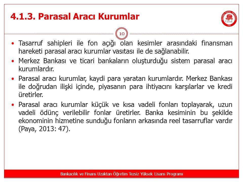 4.1.3. Parasal Aracı Kurumlar