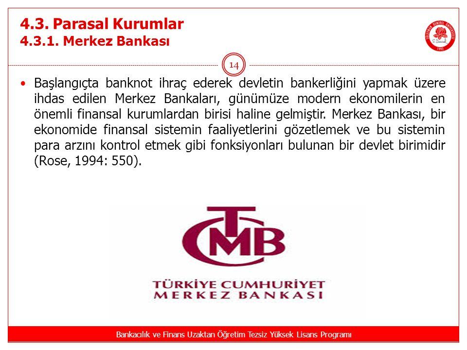 4.3. Parasal Kurumlar 4.3.1. Merkez Bankası