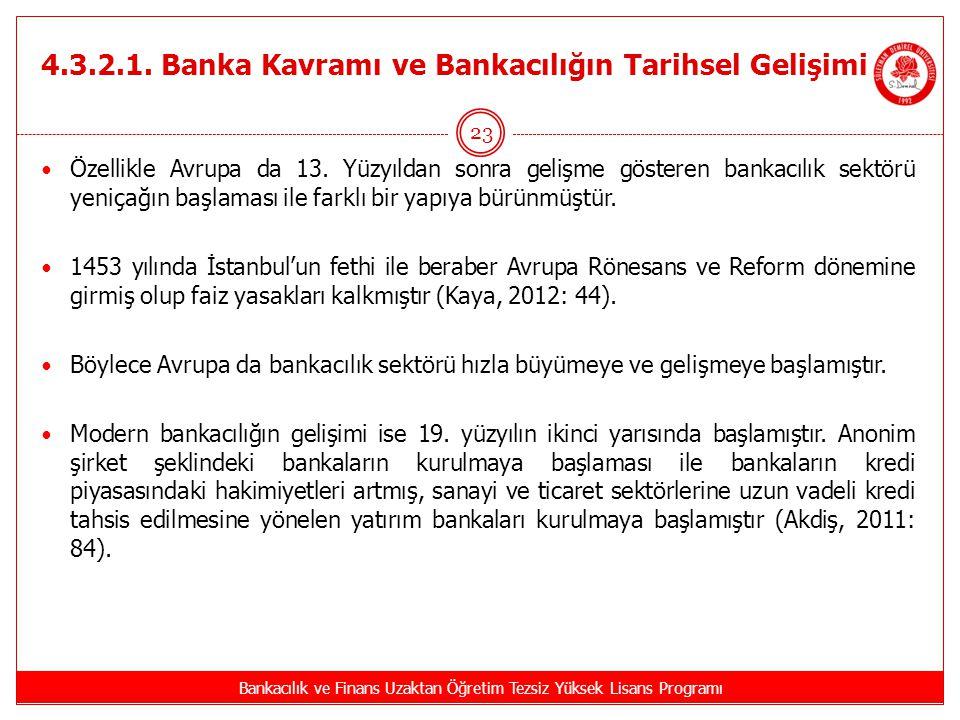 4.3.2.1. Banka Kavramı ve Bankacılığın Tarihsel Gelişimi