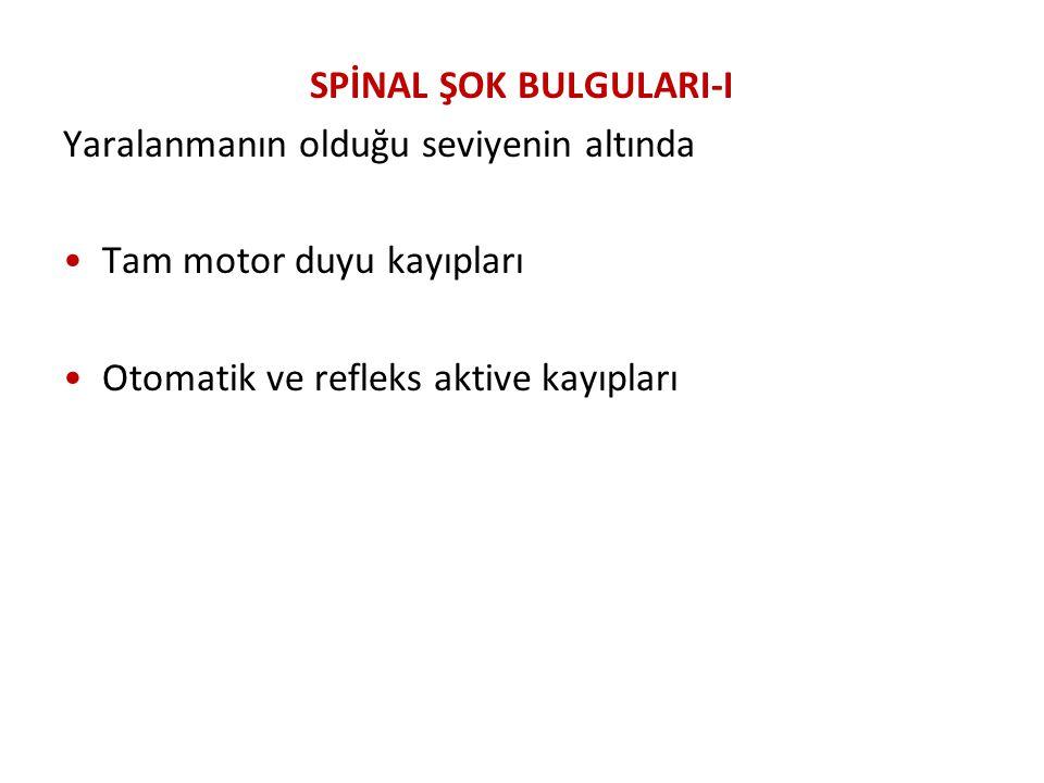 SPİNAL ŞOK BULGULARI-I
