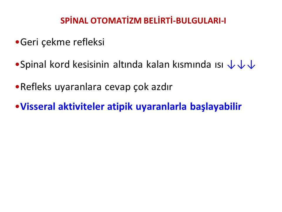 SPİNAL OTOMATİZM BELİRTİ-BULGULARI-I