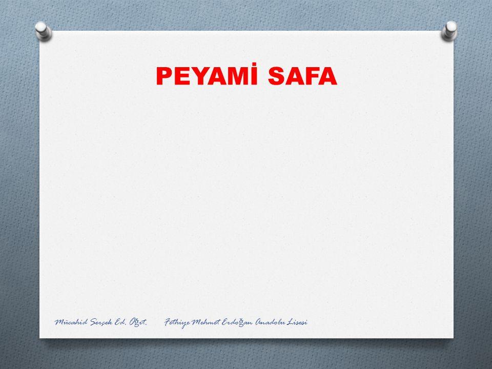 PEYAMİ SAFA Mücahid Serçek Ed. Öğrt. Fethiye Mehmet Erdoğan Anadolu Lisesi