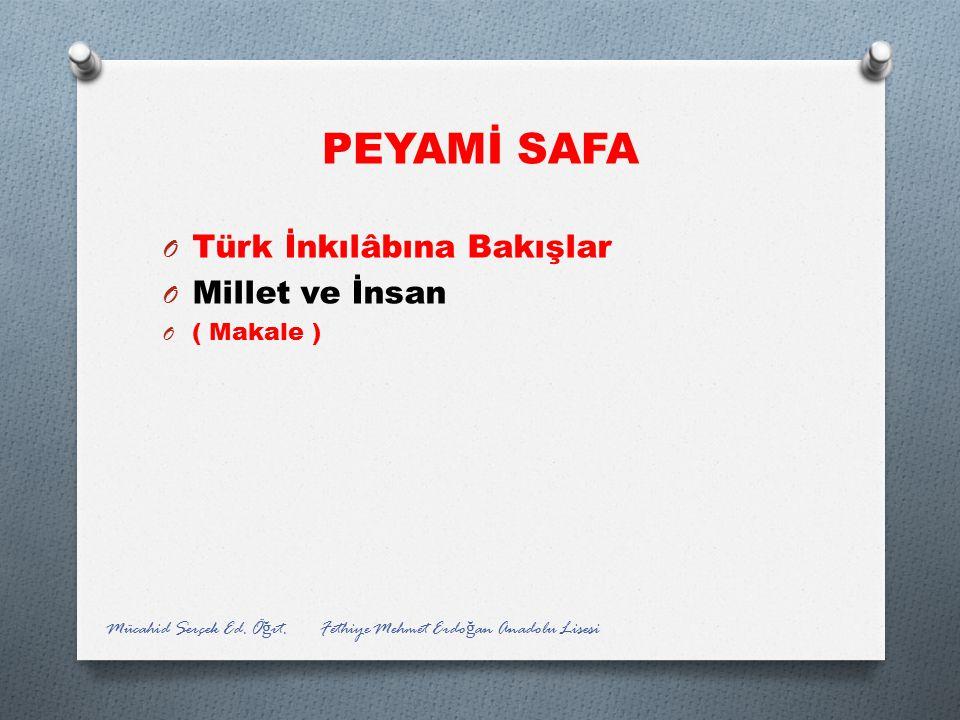 PEYAMİ SAFA Türk İnkılâbına Bakışlar Millet ve İnsan ( Makale )