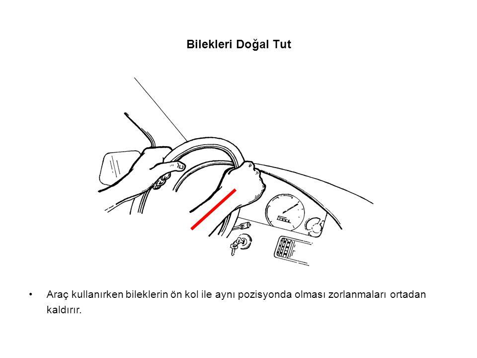 Bilekleri Doğal Tut Araç kullanırken bileklerin ön kol ile aynı pozisyonda olması zorlanmaları ortadan kaldırır.