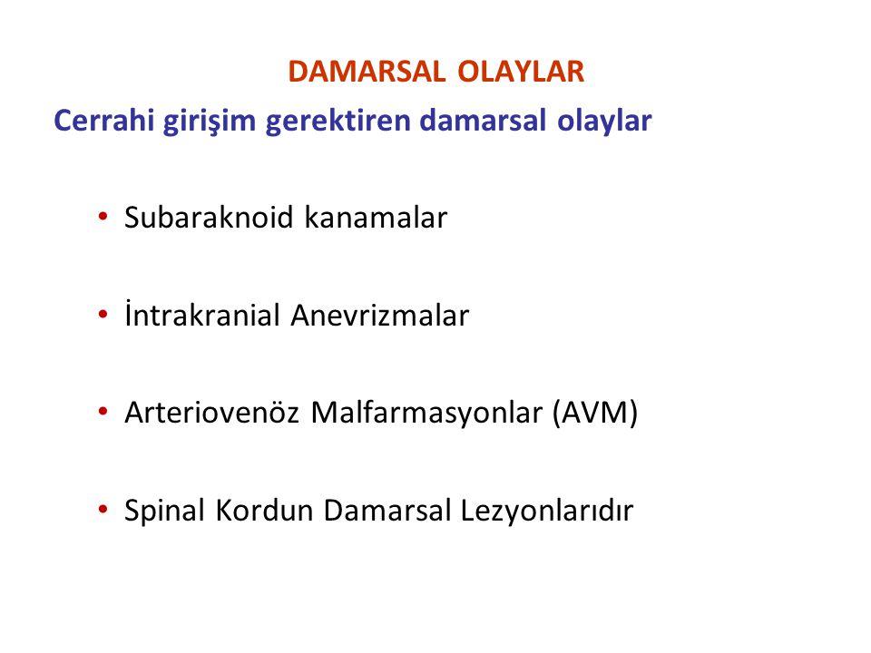 DAMARSAL OLAYLAR Cerrahi girişim gerektiren damarsal olaylar. Subaraknoid kanamalar. İntrakranial Anevrizmalar.