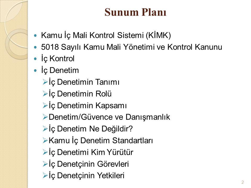 Sunum Planı Kamu İç Mali Kontrol Sistemi (KİMK)
