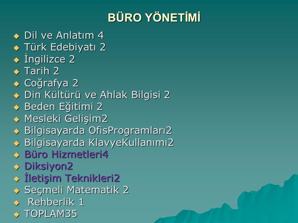 BÜRO YÖNETİMİ Dil ve Anlatım 4 Türk Edebiyatı 2 İngilizce 2 Tarih 2