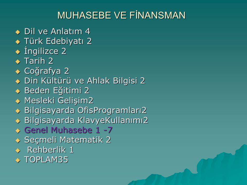 MUHASEBE VE FİNANSMAN Dil ve Anlatım 4 Türk Edebiyatı 2 İngilizce 2