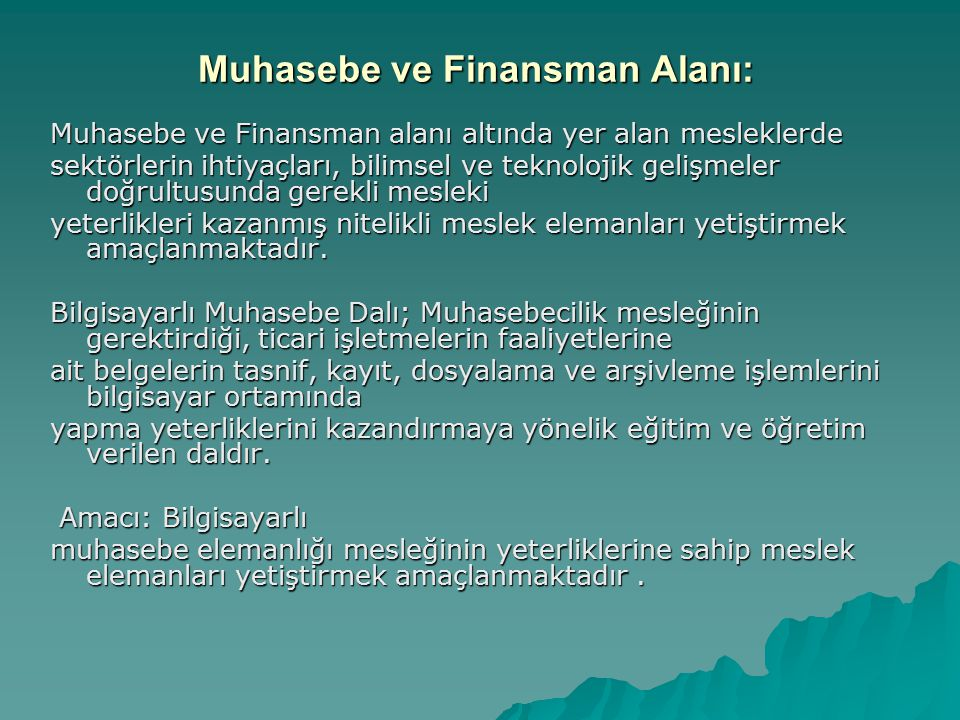 Muhasebe ve Finansman Alanı: