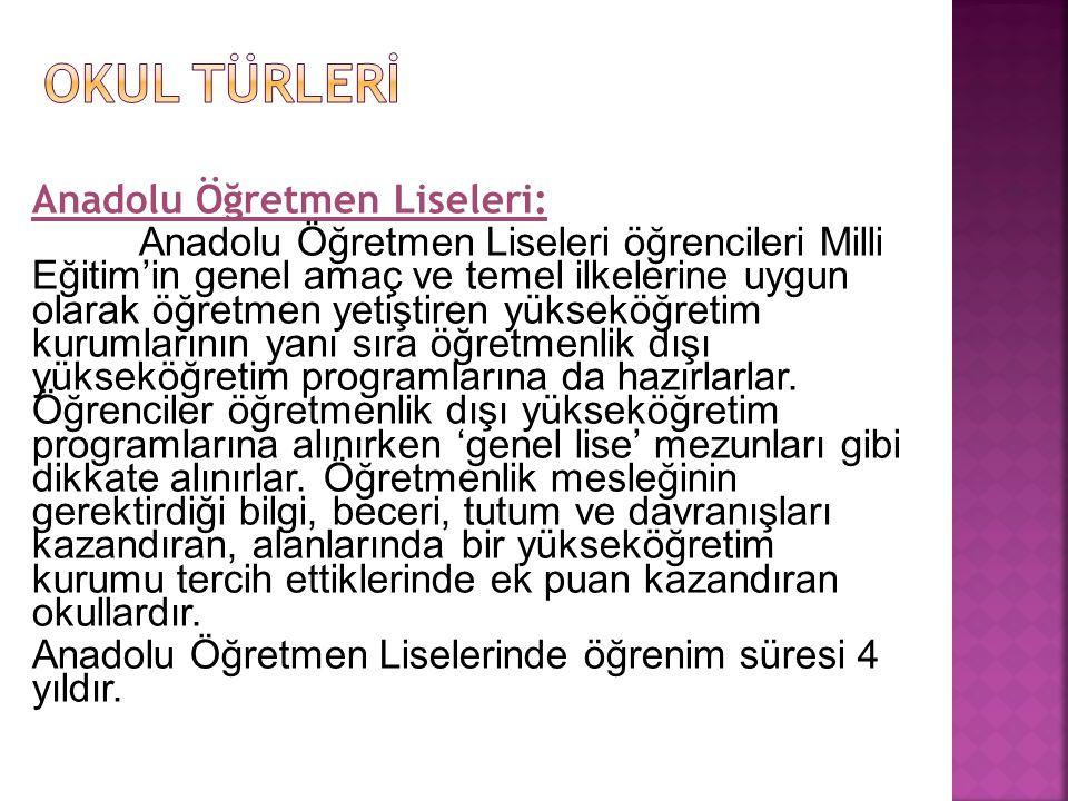 OKUL TÜRLERİ Anadolu Öğretmen Liseleri: