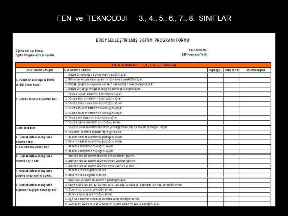 FEN ve TEKNOLOJİ 3., 4., 5., 6., 7., 8. SINIFLAR
