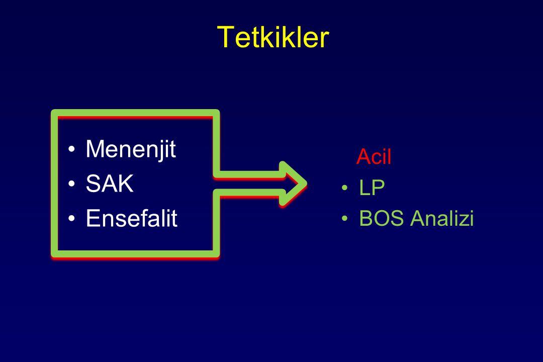 Tetkikler Menenjit SAK Ensefalit Acil LP BOS Analizi