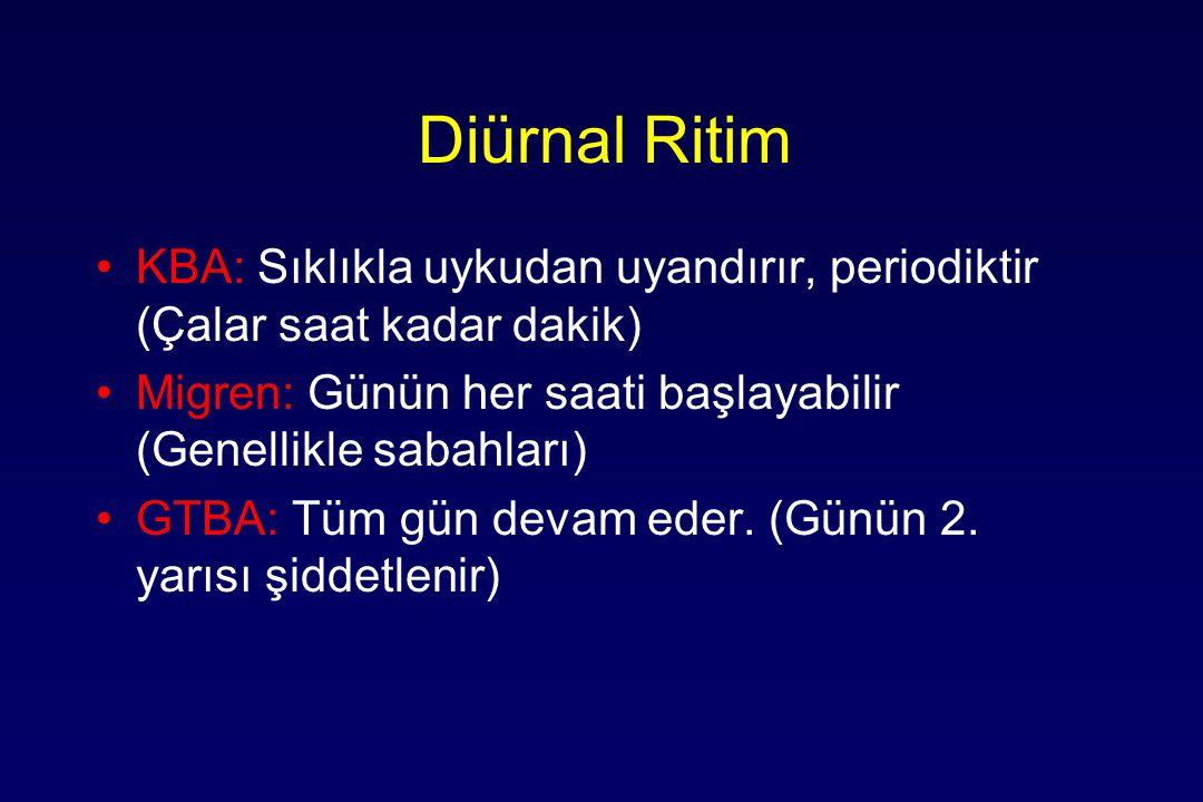 Diürnal Ritim KBA: Sıklıkla uykudan uyandırır, periodiktir (Çalar saat kadar dakik) Migren: Günün her saati başlayabilir (Genellikle sabahları)