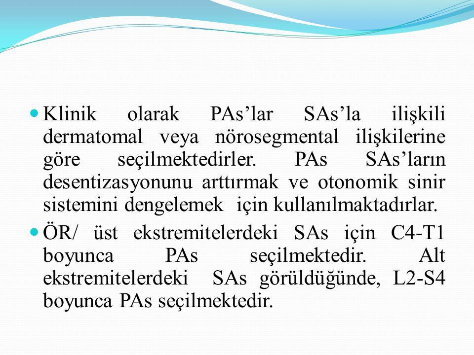 Klinik olarak PAs'lar SAs'la ilişkili dermatomal veya nörosegmental ilişkilerine göre seçilmektedirler. PAs SAs'ların desentizasyonunu arttırmak ve otonomik sinir sistemini dengelemek için kullanılmaktadırlar.