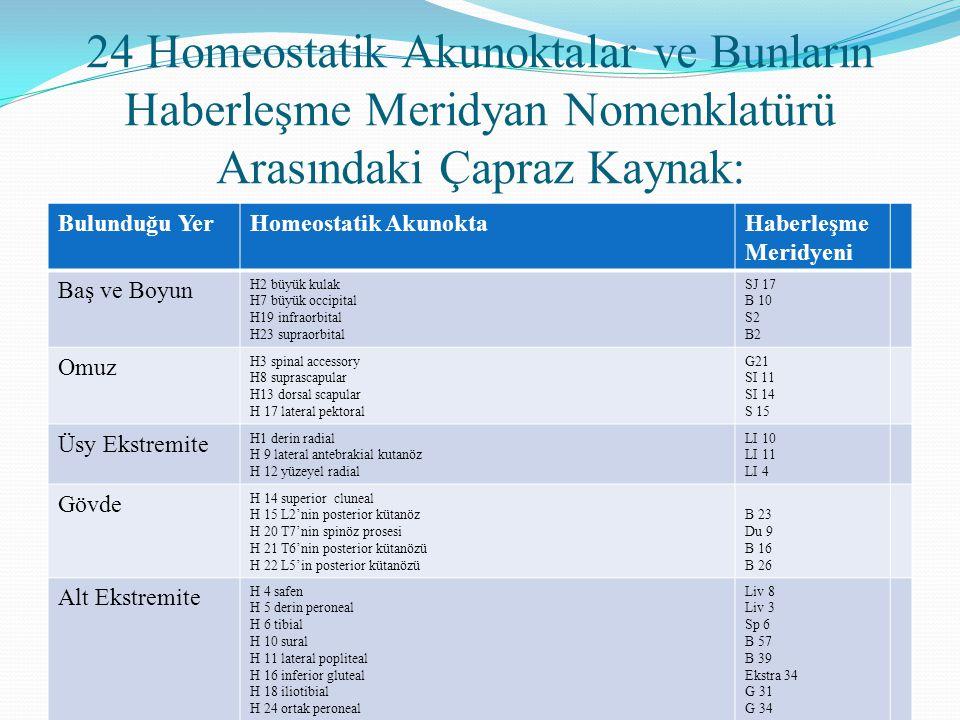 24 Homeostatik Akunoktalar ve Bunların Haberleşme Meridyan Nomenklatürü Arasındaki Çapraz Kaynak: