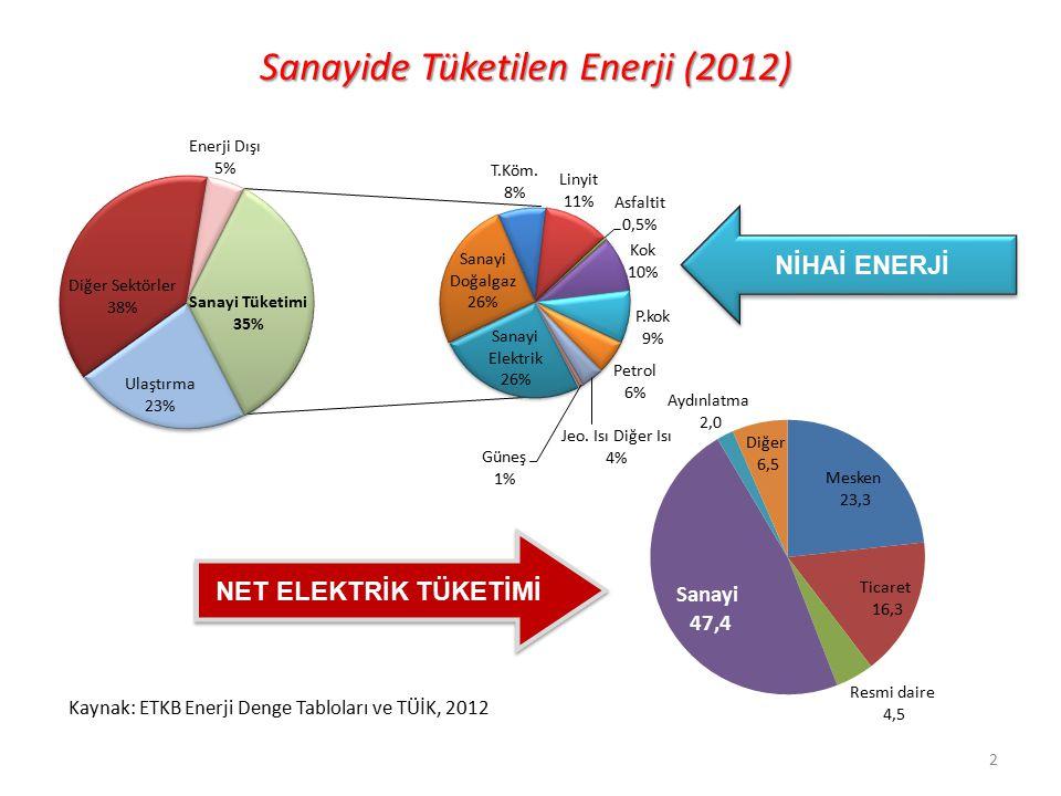 Sanayide Tüketilen Enerji (2012)
