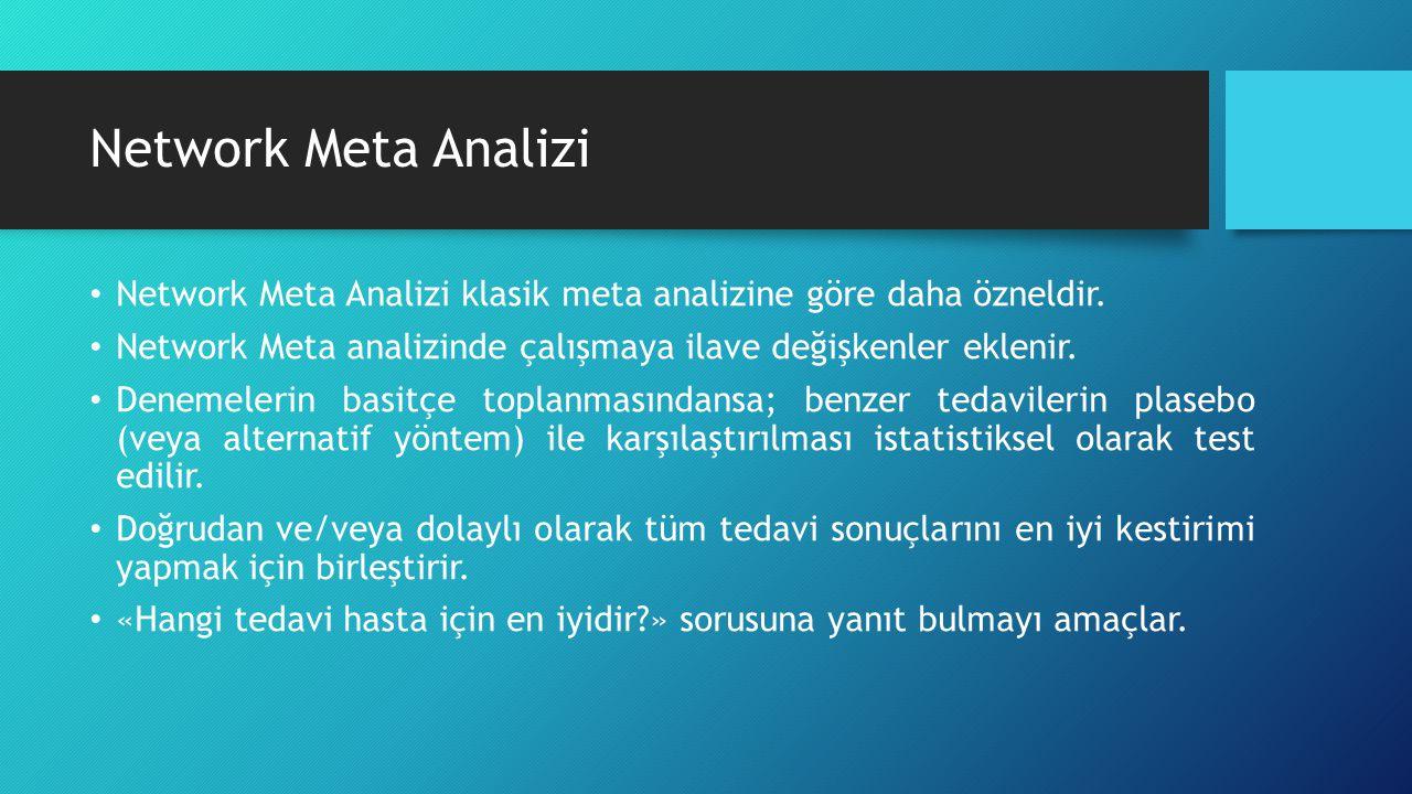 Network Meta Analizi Network Meta Analizi klasik meta analizine göre daha özneldir. Network Meta analizinde çalışmaya ilave değişkenler eklenir.